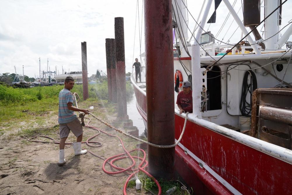 Một ngư dân buộc dây neo thuyền đánh tôm ở Bayou La Batre - Ảnh: AL.com