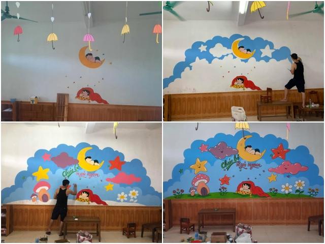 Hiện tại anh đã gần hoàn thành 4 bức tường vẽ.