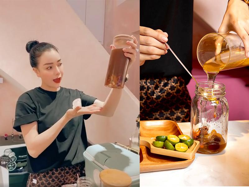 Người mẫu Trà Ngọc Hằng dịp này cũng hướng dẫn khán giả món trà