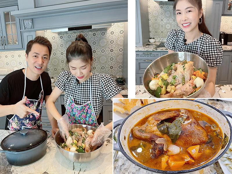 Cặp vợ chồng ca sĩ Đăng Khôi - Thuỷ Anh siêng vào bếp hơn trong mùa dịch. Ngoài chuẩn bị những bữa ăn thường ngày, cả hai