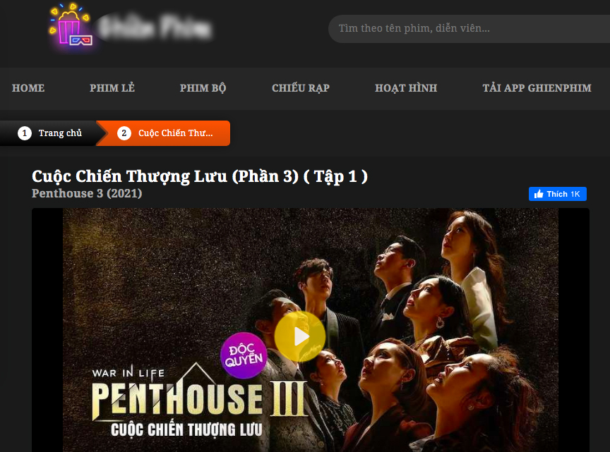 Phim Penhouse đang được chiếu trên một website lậu.