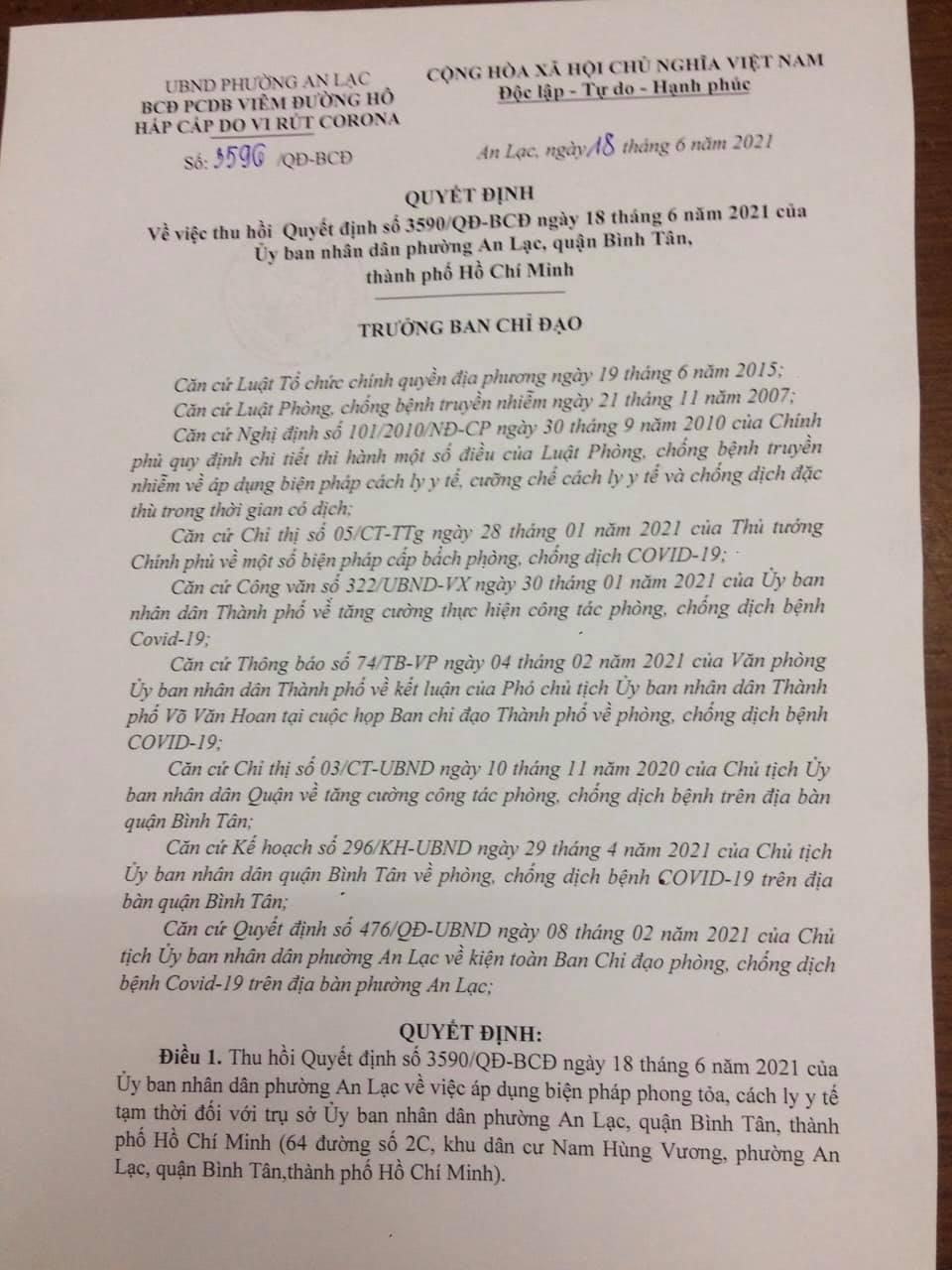 Quyết định thu hồi Quyết định phong tỏa của UBND phường An Lạc.