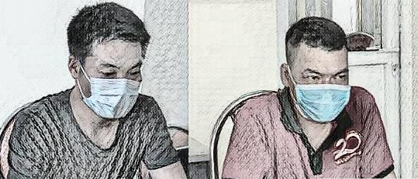 Nông Văn Long và Nguyễn Văn Thùy tại cơ quan công an