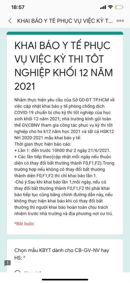 Những giáo viên, học sinh lớp 12 tham gia kỳ thi tốt nghiệp THPT 2021 được yêu cầu khai báo y tế