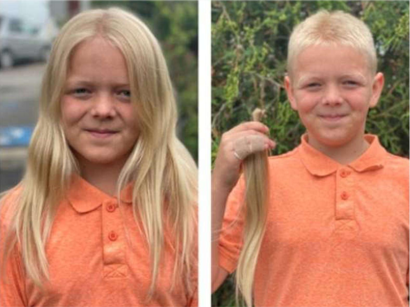 Cậu bé Conor Rogers quyết định cắt mái tóc dài yêu thích của mình để làm từ thiện - Ảnh: