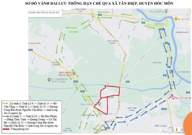Sơ đồ vành đai lưu thông hạn chế qua xã Tân Hiệp, huyện Hóc Môn