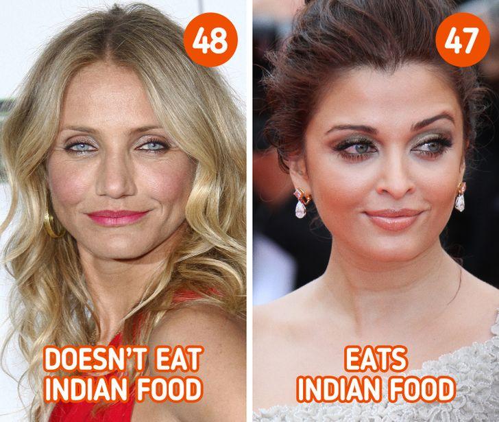 Ăn thực phẩm hữu cơ  Chế độ dinh dưỡng góp phần không nhỏ giúp mang lại sức khoẻ và làn da mịn màng cho phụ nữ Ấn Độ. Họ sử dụng nhiều loại gia vị như nghệ, gừng, quế, đinh hương, ớt, tỏi... Người Ấn Độ đặc biệt chú trọng đến khâu chọn nguyên liệu. Nguyên liệu trong các bữa ăn phải đảm bảo được sự tươi ngon và sạch sẽ, đấy là yếu tố tiên quyết giúp tăng cường sức khoẻ và duy trì vẻ trẻ trung.