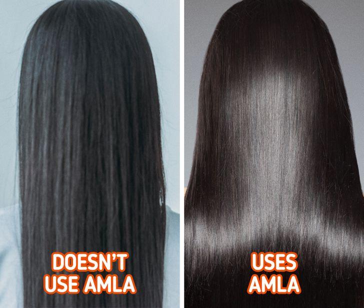 Chăm sóc tóc  Mái tóc là một trong những tiêu chuẩn đẹp của phụ nữ Ấn Độ. Họ chăm sóc tóc từ rất sớm. Nguyên liệu làm đẹp tóc quen thuộc tại quốc gia này là dầu amla chiết xuất từ cây ngỗng Ấn Độ. Dầu amla có tác dụng kích thích mọc tóc, ngăn ngừa tóc rụng và tóc bạc sớm. Phụ nữ Ấn Độ thường massage da đầu bằng dầu dừa nóng mỗi tuần một lần. Ngoài ra, họ còn dùng nước trà xanh để gội đầu giúp mái tóc