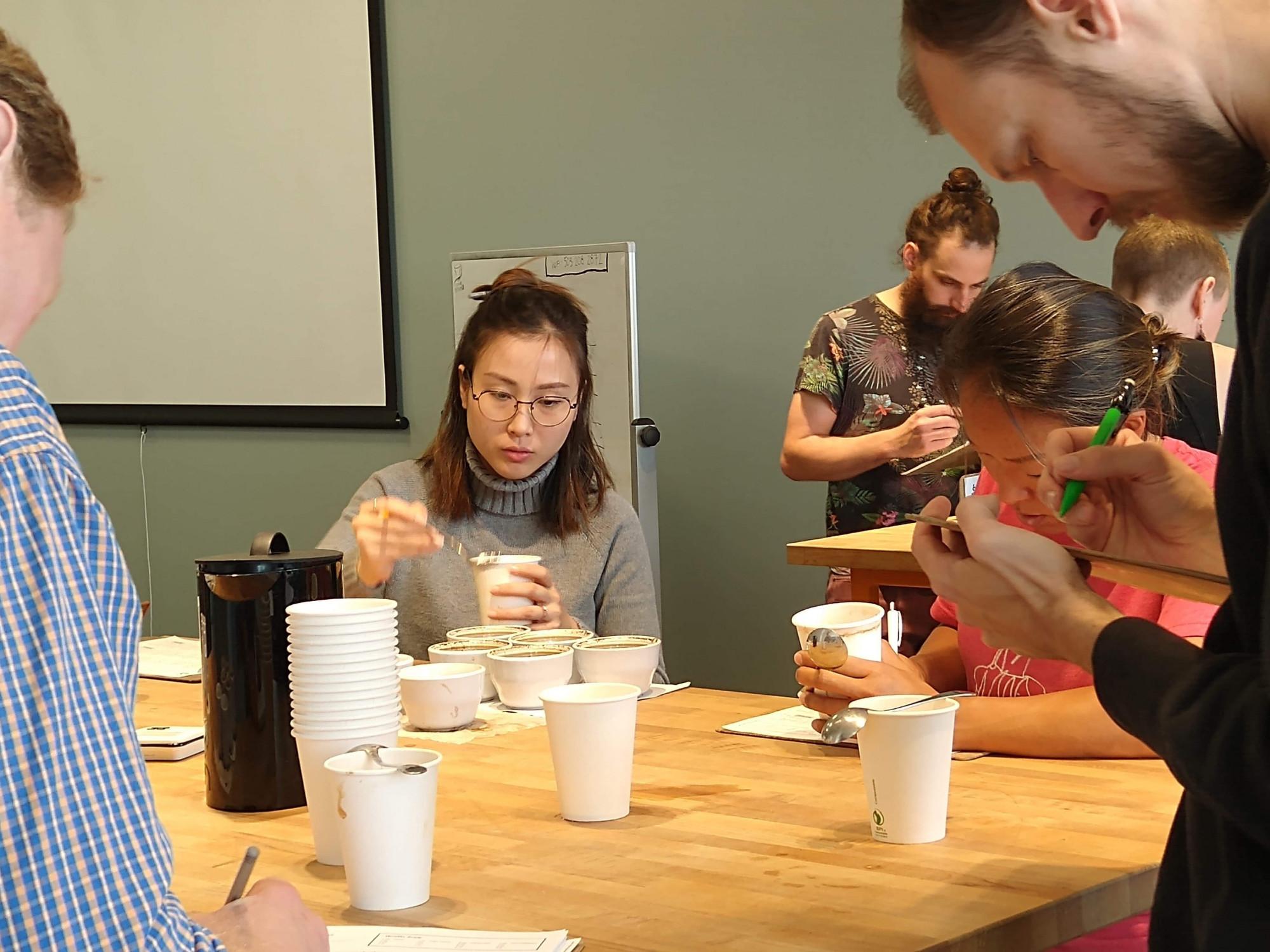 Khuyên trong cuộc thi lấy chứng chỉ quốc tế về thẩm định cà phê (Coffee Quality Grader) tại thành phố Portland, Mỹ. Ảnh: nhân vật cung cấp