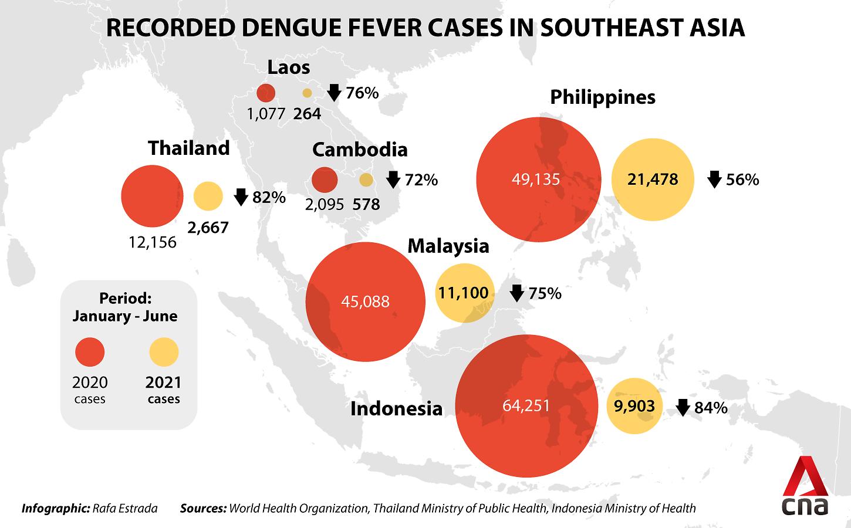 Số ca mắc sốt xuất huyết ở các nước Đông Nam Á giảm mạnh trong năm nay.