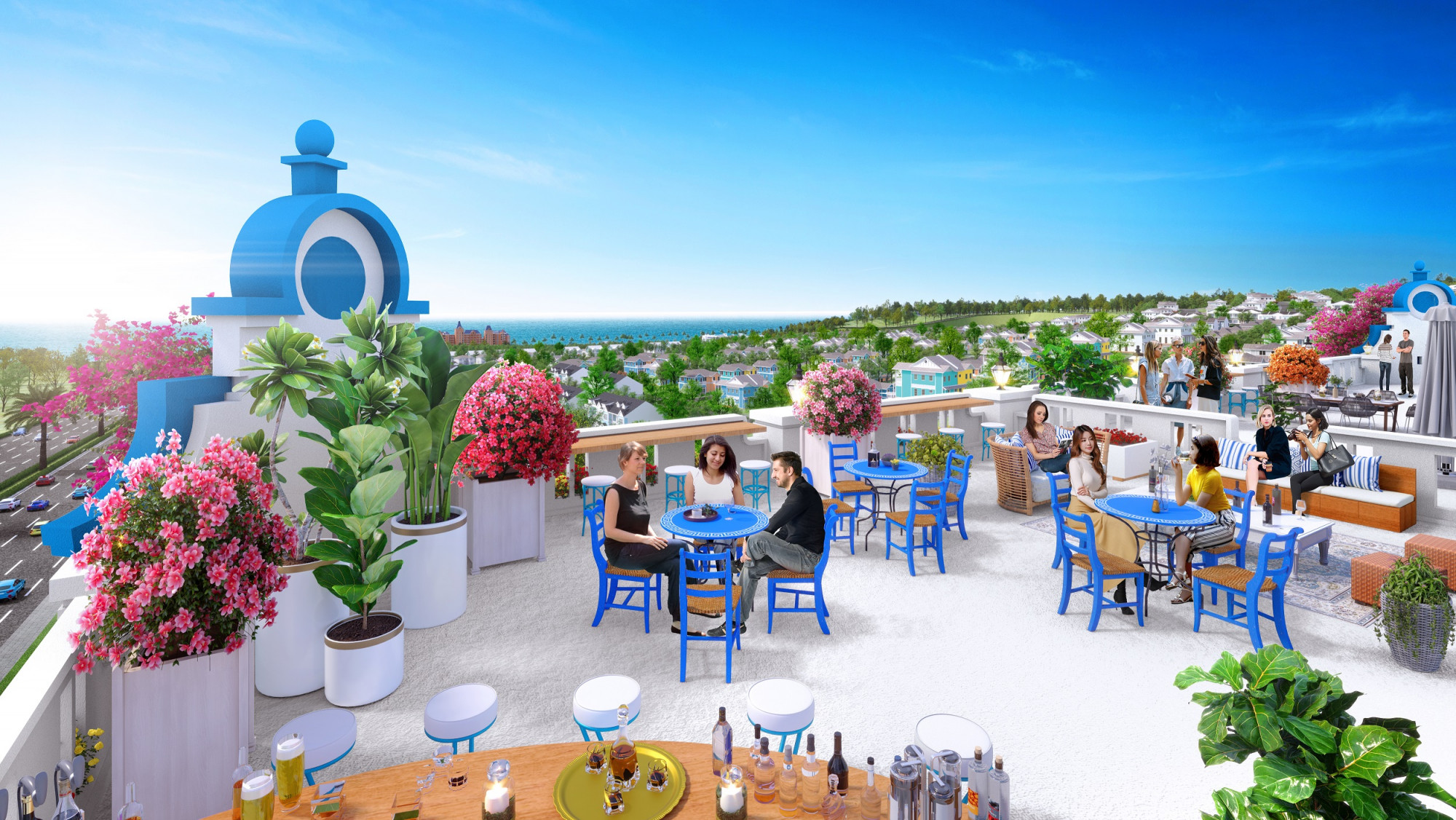 Bên cạnh mặt bằng tầng trệt, nhà đầu tư có thể sử dụng tầng thượng với view biển tuyệt đẹp để kinh doanh thêm các dịch vụ khác và phát huy hết công năng của boutique hotel - Ảnh phối cảnh Boutique hotel NovaWorld Phan Thiet
