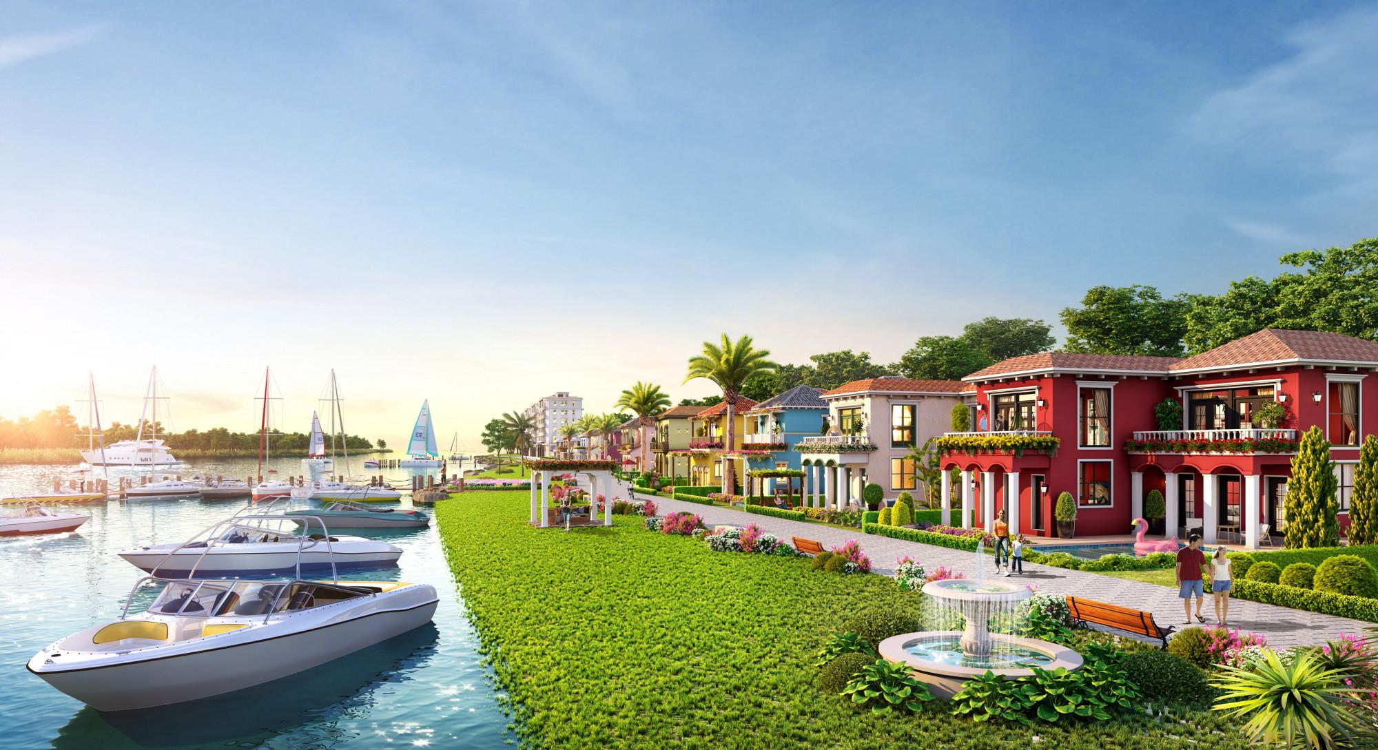 Phối cảnh biệt thự biển tầm nhìn sông cùng bến du thuyền ấn tượng tại phân kỳ Habana Island (NovaWorld Ho Tram, Bà Rịa - Vũng Tàu)