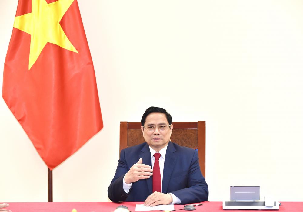 Thủ tướng Phạm Minh Chính điện đàm với Tổng giám đốc WHO Tedros Adhanom Ghebreyesus- Ảnh: VGP/Nhật Bắc