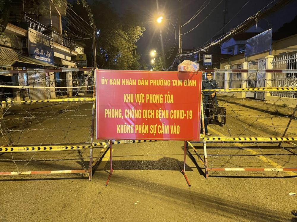 Phong toả, cách ly tuyến đường Gò Dưa, phường Tam Bình, TP Thủ Đức.