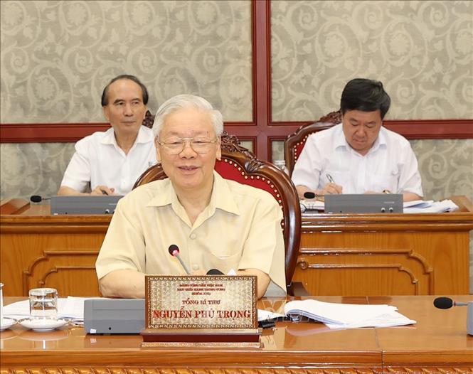 Tổng Bí thư Nguyễn Phú Trọng phát biểu tại cuộc họp. Ảnh: Trí Dũng/TTXVN