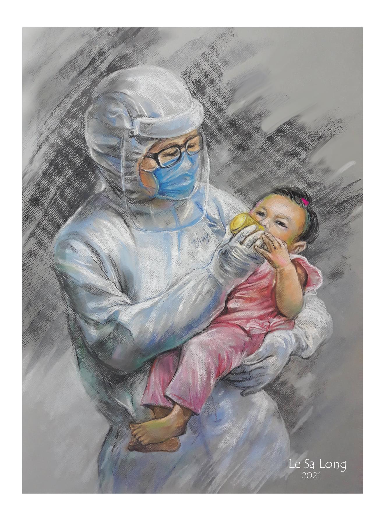 Hình ảnh bác sĩ làm thay vai trò người mẹ, cho em bé uống sữa trong