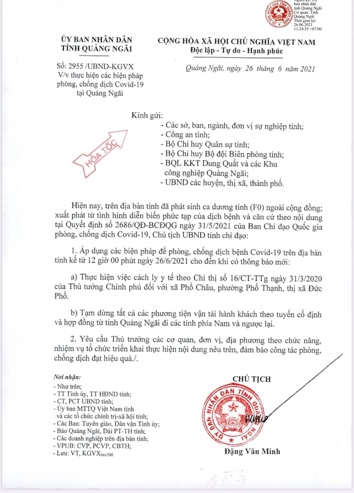Văn bản hoả tốc phòng, chồng dịch COVID - 19 của UBND tỉnh Quảng Ngãi