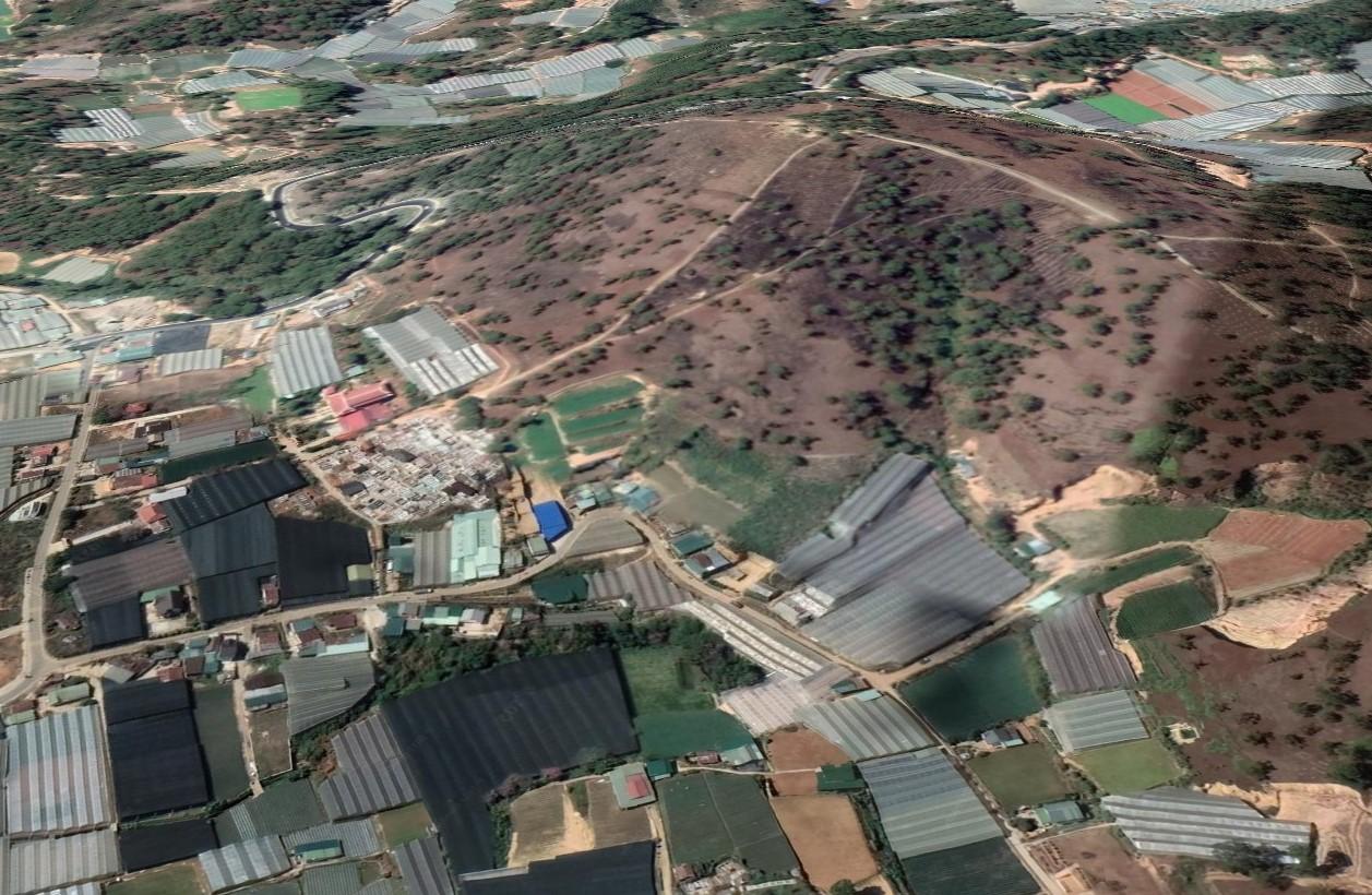 Đồi Đa Phú hiện là một địa điểm du lịch nổi tiếng của Đầ Lạt với hoạt động cắm trại, săn mây. Ảnh: Google Earth.