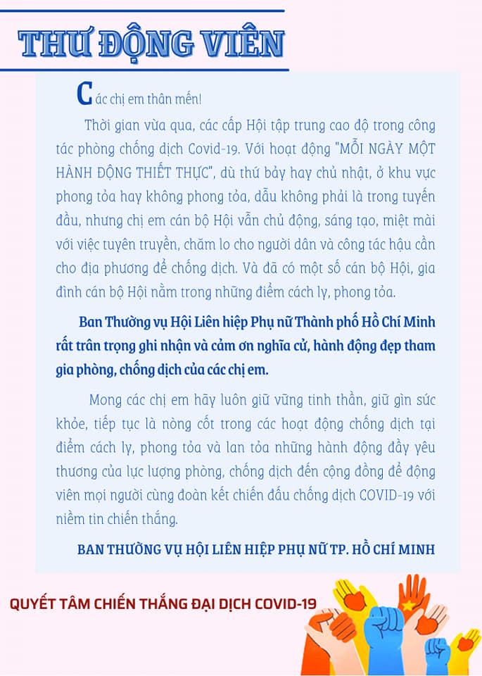 Hội LHPN TP cũng đã gởi thư cảm ơn và động viên đến gia đình 22 cán bộ Hội đang bị cách ly hoặc trong diện phong tỏa