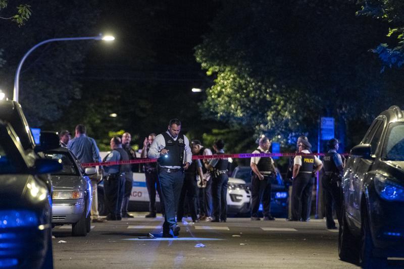 Hiện trường vụ xả súng ở Chicago.