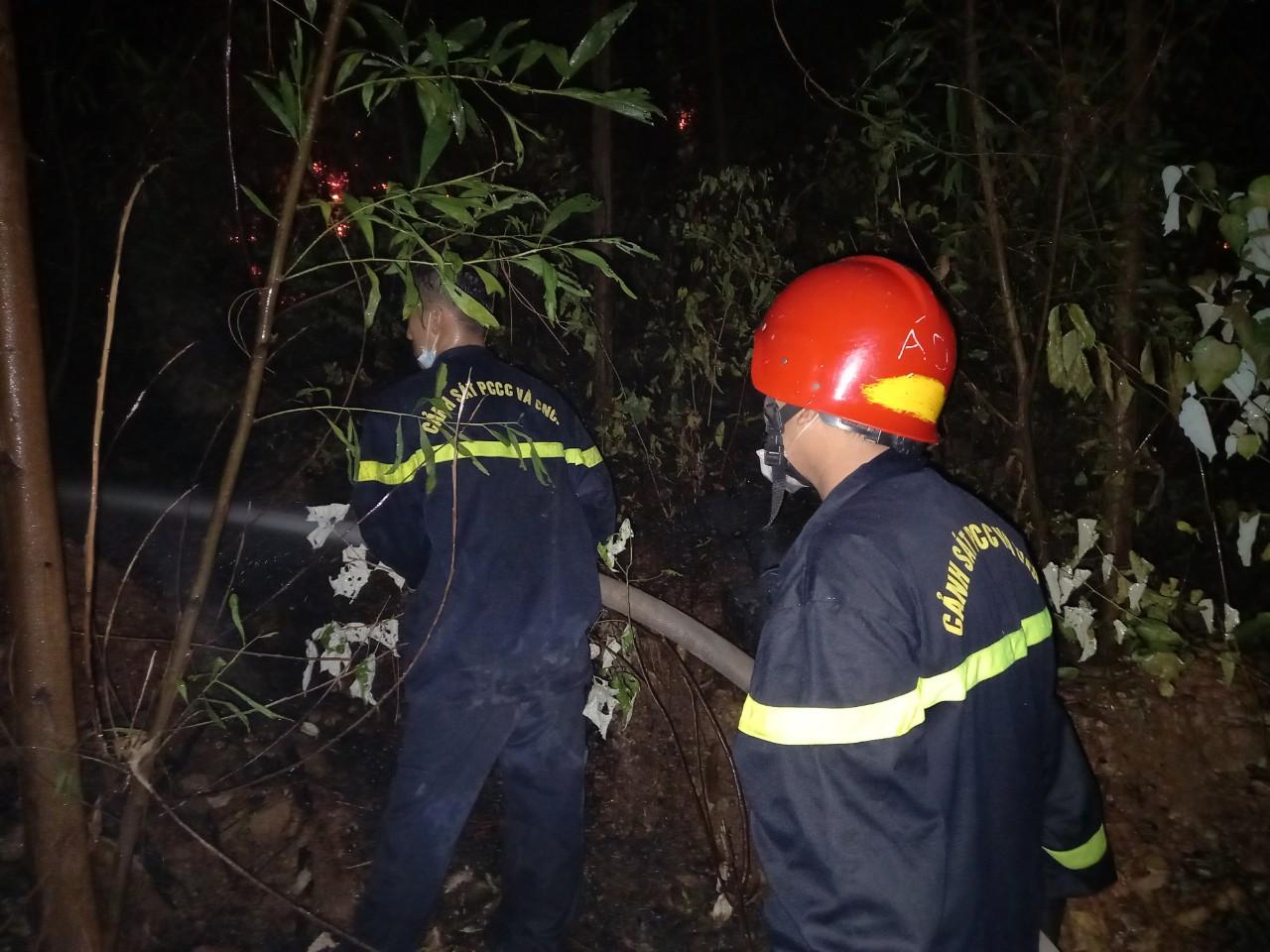 Do trời tối cùng gió lớn đã làm lửa lan rộng, bùng phát, cháy lan ra khu đồi thông hàng chục năm tuổi ở phường Phú Bài và phường Thủy Châu ngay sát Trạm Kiểm định đạn dược T264-K890.