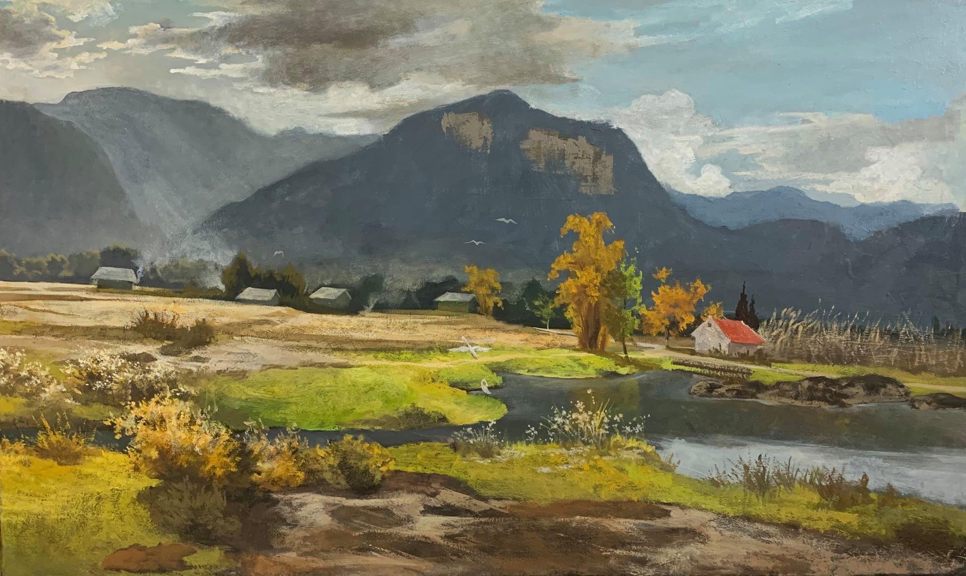 Tác phẩm Chiều tháng 10 của Đinh Ngọc Sơn, chất liệu sơn dầu