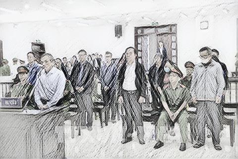 Các bị cáo tại phiên tòa sơ thẩm - Ảnh: TTXVN