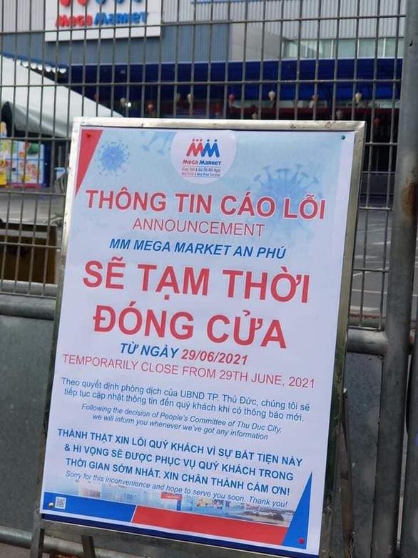 Siêu thị MM Mega Market An Phú thông báo tạm đóng cửa từ ngày 29/6 do có ca nghi nhiễm COVID-19.