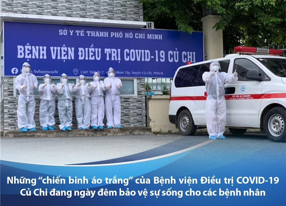 """Những """"chiến sĩ áo trắng"""" của BV điều trị COVID-19 Củ Chi đang ngày đêm bảo vệ sự sống cho các BN - Nguồn: Sở Y tế TPHCM do CGHL cung cấp"""