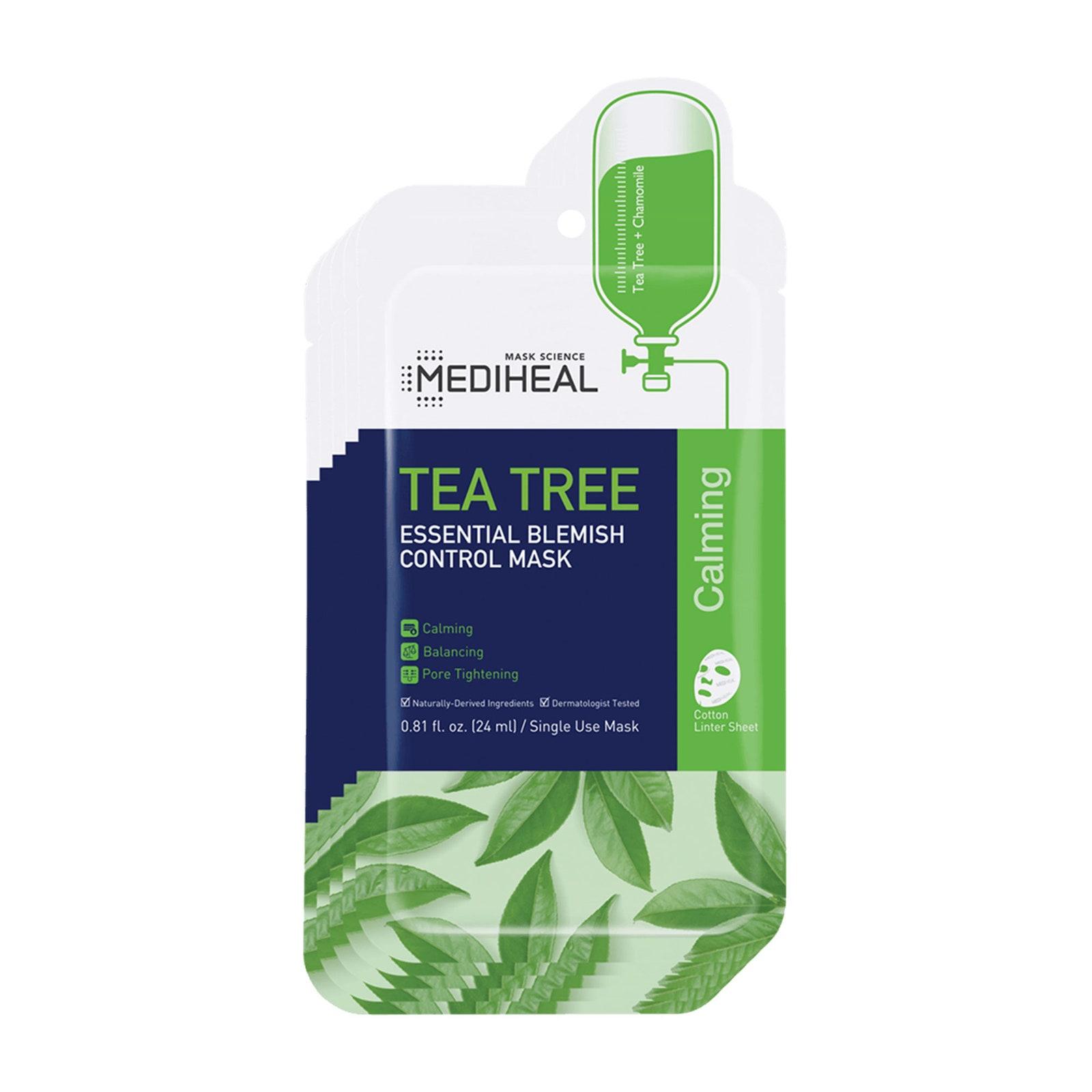 Mặt nạ Mediheal Tea Tree Essential Blemish Control Mask (giá 50.000 đồng): Đây là loại mặt nạ nổi tiếng ở Seoul đến mức nó thậm chí còn coi các thành viên của BTS là fan hâm mộ. Tại Hoa Kỳ, bác sĩ da liễu Y. Claire Chang có trụ sở tại Thành phố New York đã tìm cách giúp cấp ẩm, làm dịu và tẩy tế bào chết cho làn da của cô ấy với liều lượng khổng lồ của dầu cây trà kháng khuẩn, vỏ cây liễu thông thoáng lỗ chân lông, hay còn gọi là axit salicylic, và làm sáng ascorbyl tetraisopalmitate, là một dẫn xuất của vitamin C.