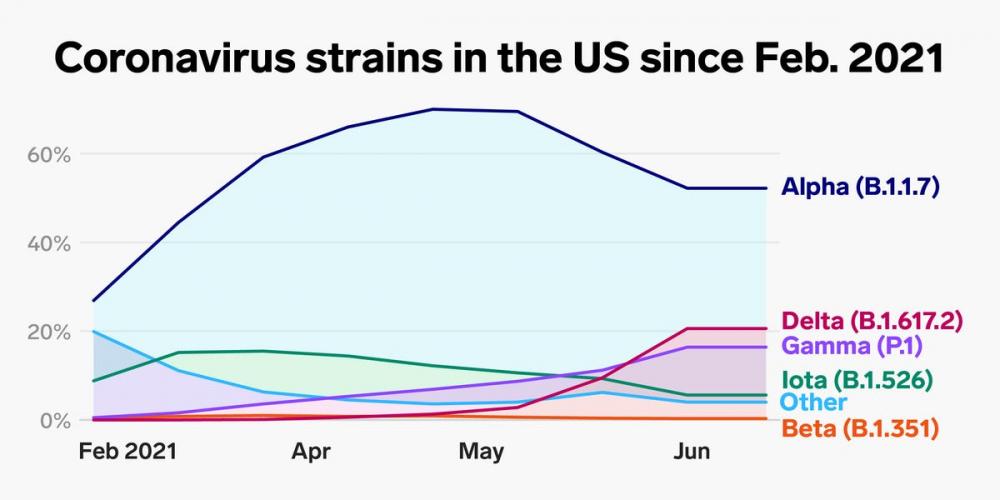 Các chủng Coronavirus ở Mỹ kể từ tháng 2/2021 - Nguồn: CDC