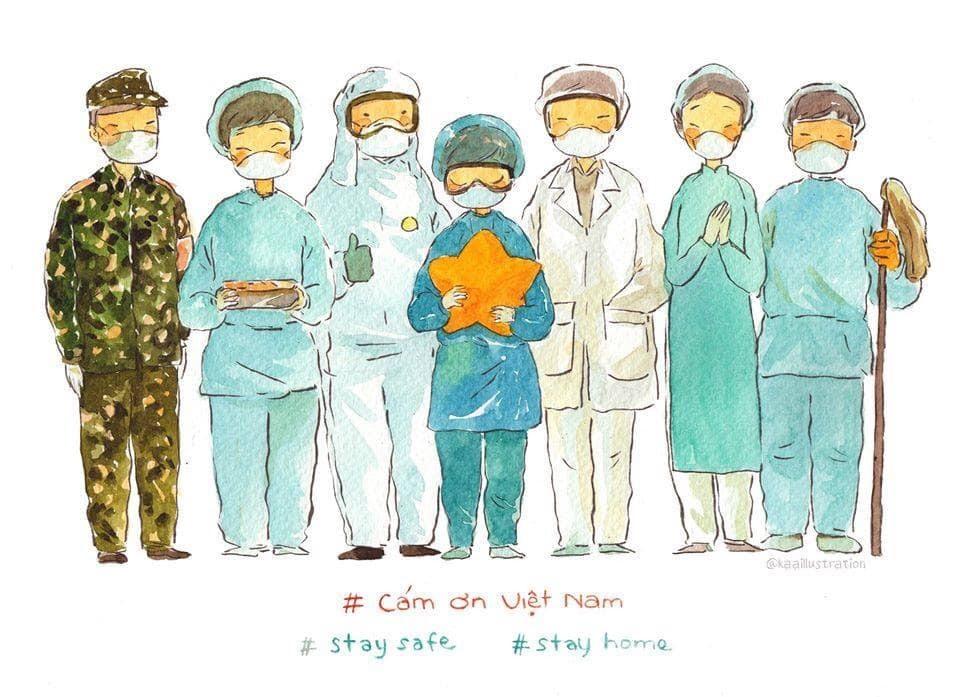 Hình ảnh y bác sĩ đã được thể hiện qua rất nhiều bức tranh vẽ cảm động