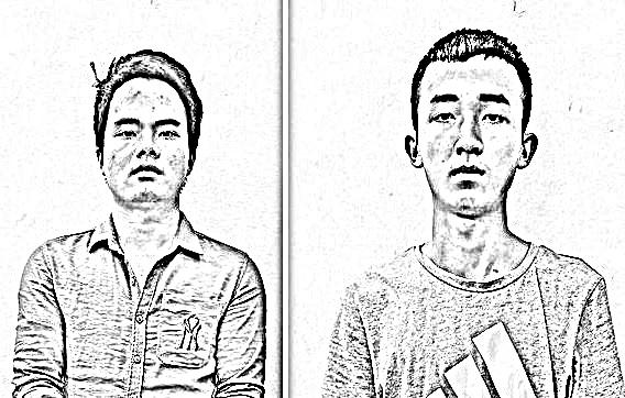 Quách Văn Hải (trái) và Trịnh Hải Nam tại cơ quan công an