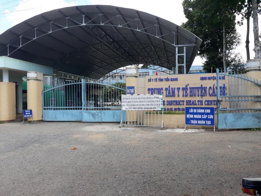 Trung tâm y tế huyện Cái Bè hiện đã được phong tỏa