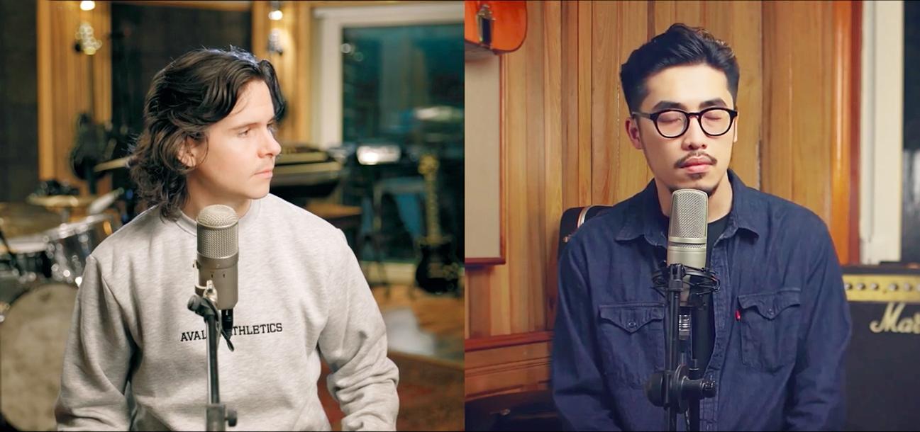 Vũ (phải) và Lukas Graham thực hiện MV Happy For You tại mỗi quốc gia, sau đó ghép lại