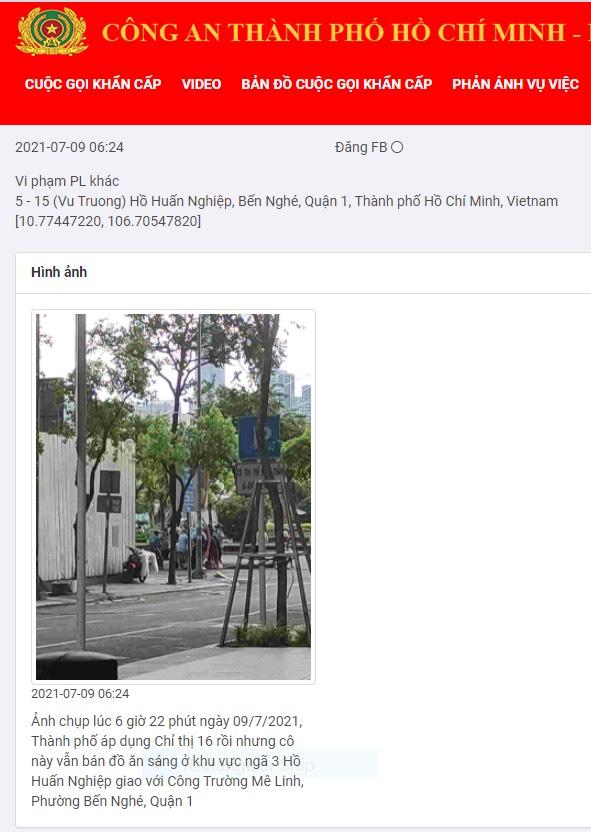 Người phụ nữ bán đồ ăn ở trung tâm Sài Gòn bị xử lý vì vi phạm phòng chống dịch COVID-19 thông qua hình ảnh được gửi về ứng dụng Help 114 của Cảnh sát PCCC.