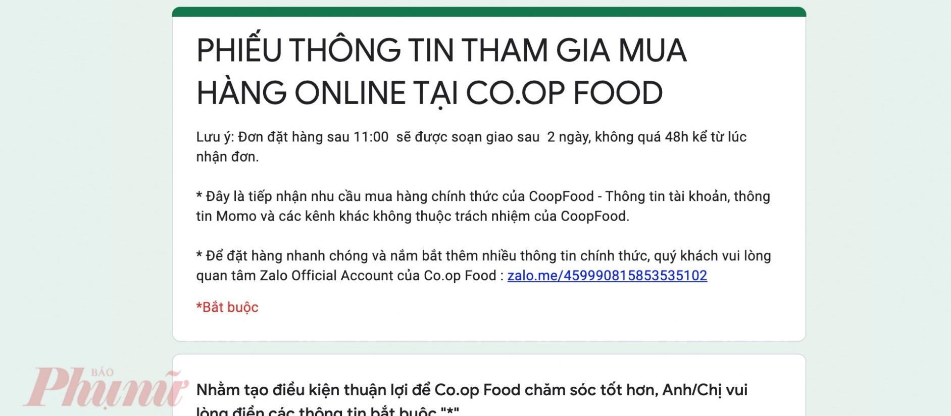 Phiếu thông tin tham gia mua hàng online vừa được chuỗi cửa hàng Co.opFood triển khai