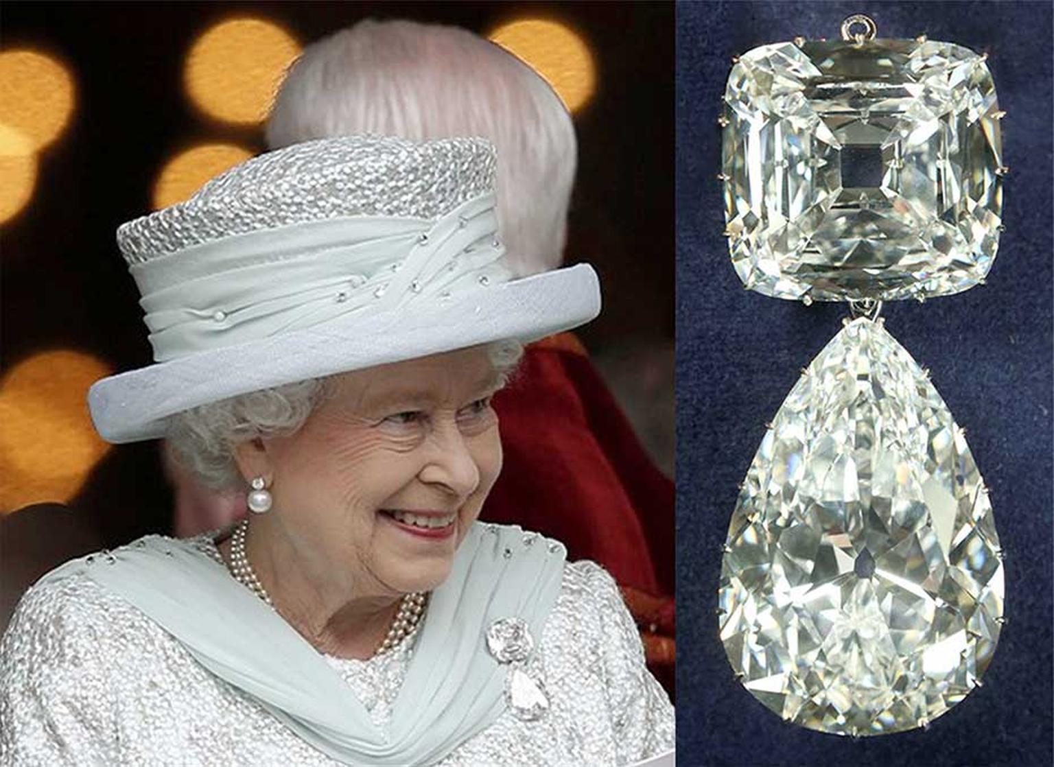 Chiếc khuy gài cổ áo làm từ kim cương Cullinan được Nữ hoàng Anh Elizabeth - Ảnh: The Jewellery Editor