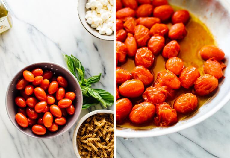 """6 ounce ( 2 cốc ) mì ống fusilli hoặc rotini ngũ cốc nguyên hạt ⅓ chén dầu ô liu nguyên chất 2 panh cà chua bi hoặc nho ½ thìa muối biển mịn 8 ounce mozzarella """"trân châu"""", hoặc một viên mozzarella, xé thành miếng vừa ăn Vài nhánh húng quế tươi (đủ cho hơn 2 muỗng canh cắt nhỏ) 2 đến 3 thìa cà phê giấm balsamic trắng hoặc giấm balsamic thông thường, để nếm thử"""