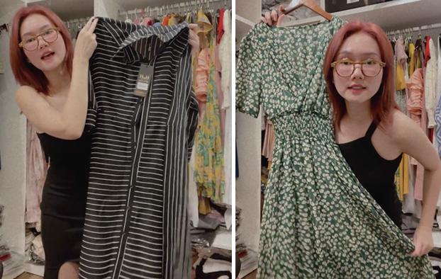 Chiếc áo bên trái đã xuất hiện trên phim, trong phân cảnh Tuyết nhờ một người dân về chuyện giấy tờ nhà cửa. Còn chiếc đầm bên phải là trang phục cô đã chuẩn bị để mặc trên phim nhưng chưa có dịp diện.