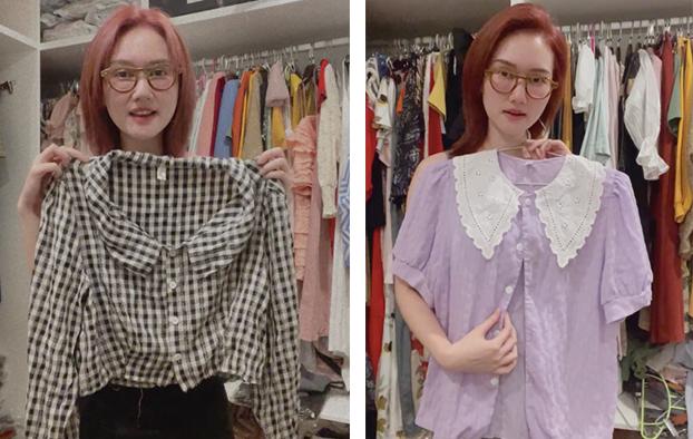 2 chiếc áo cũng đã xuất hiện trong phim Mùa hoa tìm lại được Hương Giang mặc. Cô chọn thiết kế khá đơn giản để phù hợp với cuộc sống của Tuyết tại vùng quê nghèo.