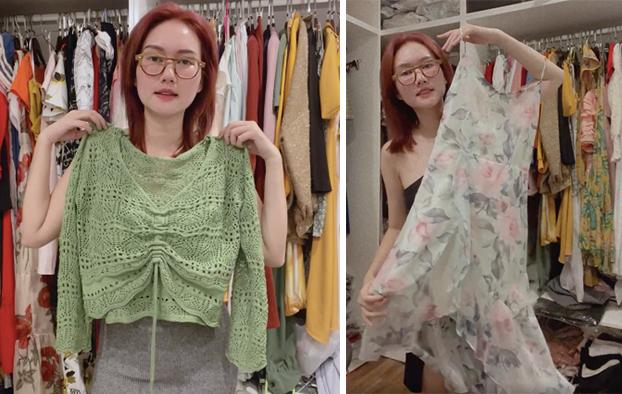 Chiếc áo khoác len khá dễ phối đồ được Hương Giang mua nhiều màu. Cô cho biết khi đầm dây, chỉ cần khoác nhẹ chiếc áo ren này đã có thể trở nên kín đáo hơn.