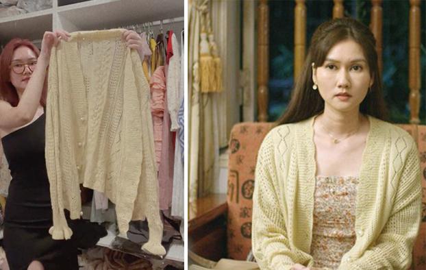 Chiếc áo len đã được xuất hiện trên Mùa hoa tìm lại trong những tập đầu tiên của phim. Chiếc áo khoác được Hương Giang phối với