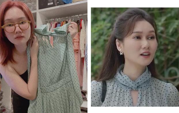 Chiếc đầm voan xanh chấm bi xuất hiện ở những tập đầu. Nữ diễn viên cho biết chiếc đầm mặc khá tôn dáng khi phần eo