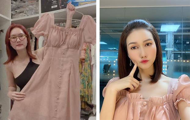 Chiếc đầm có màu sắc ngọt ngào vừa được nữ diễn viên mặc để chụp hình. Nữ diễn viên thích đầm hoa và các thiết kế