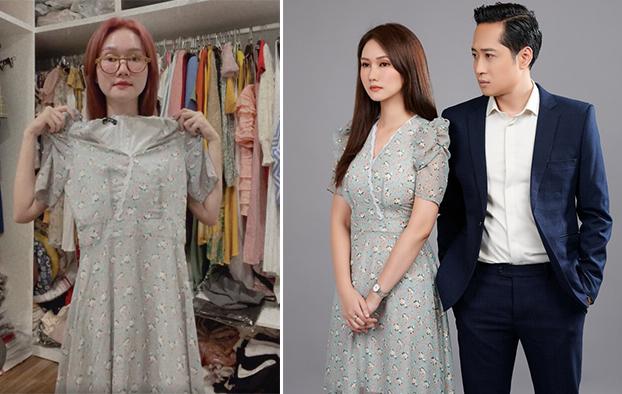Chiếc đầm đã được nữ diễn viên mặc trong buổi chụp poster cho phim Mùa hoa tìm lại. Hương Giang cho biết trên phim, cô chuẩn bị khoảng 20 - 30 % trang phục