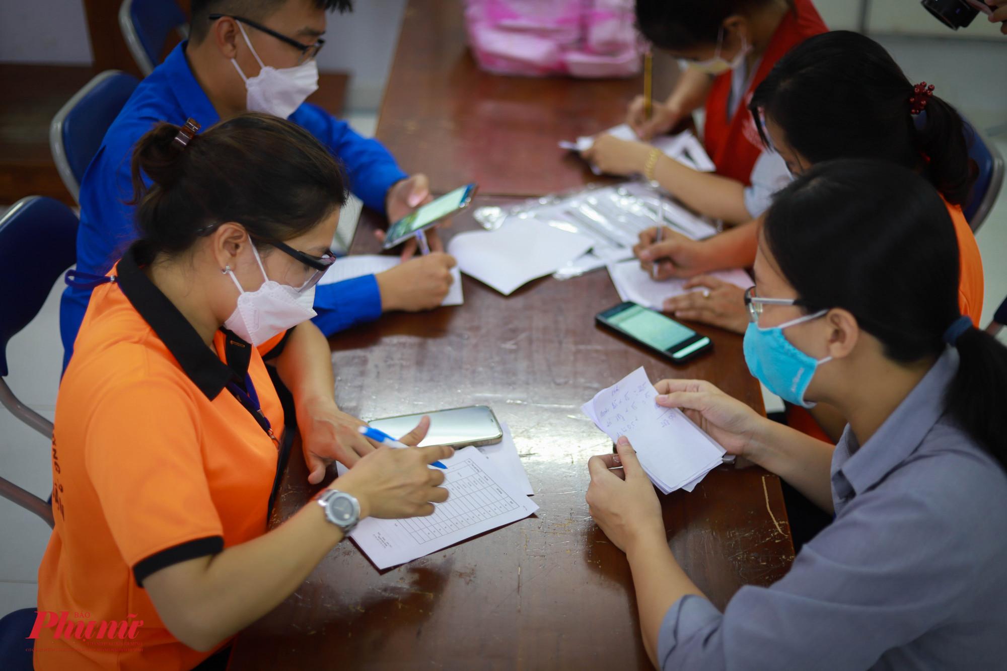 Tổ tình nguyện phường 3, quận Phú Nhuận kiểm tra đơn hàng của người dân trước khi gửi đến siêu thị