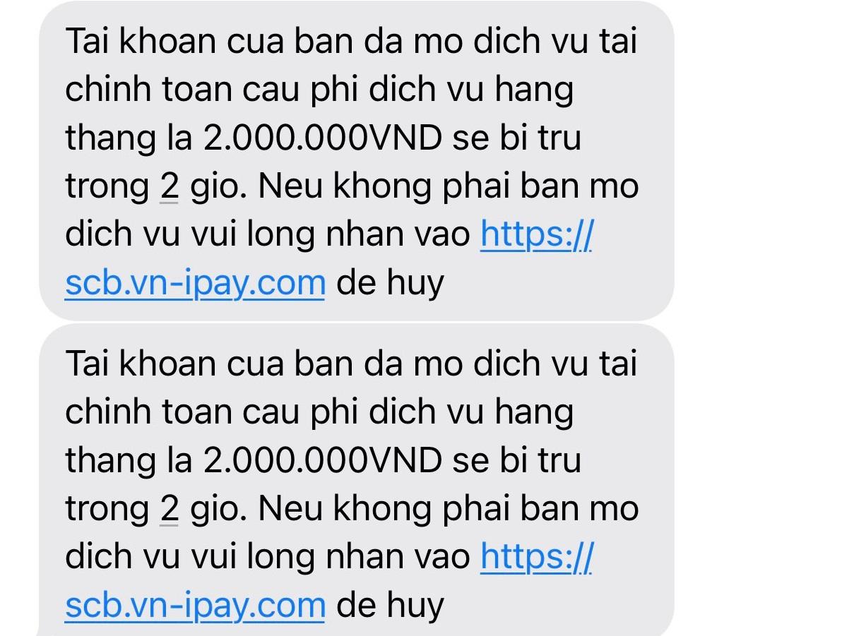 Tin nhắn giả mạo thương hiệu ngân hàng SCB để lừa đảo chiếm đoạt tài sản