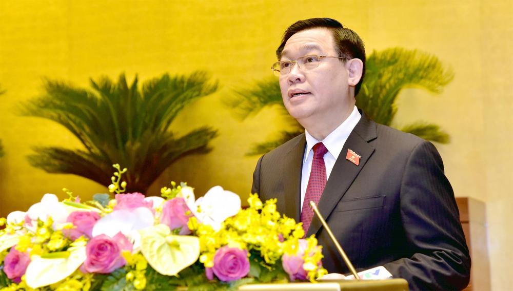 Chủ tịch Quốc hội Vương Đình Huệ phát biểu tại Hội nghị. Ảnh: VGP.