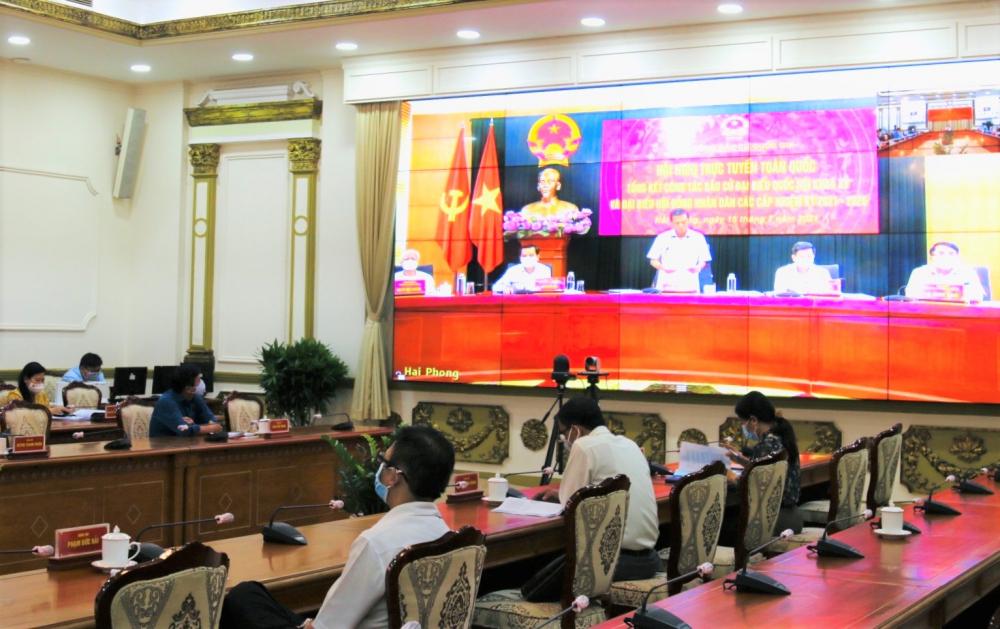 Hội nghị diễn ra tại điểm cầu TPHCM. Ảnh: Tường Lam.